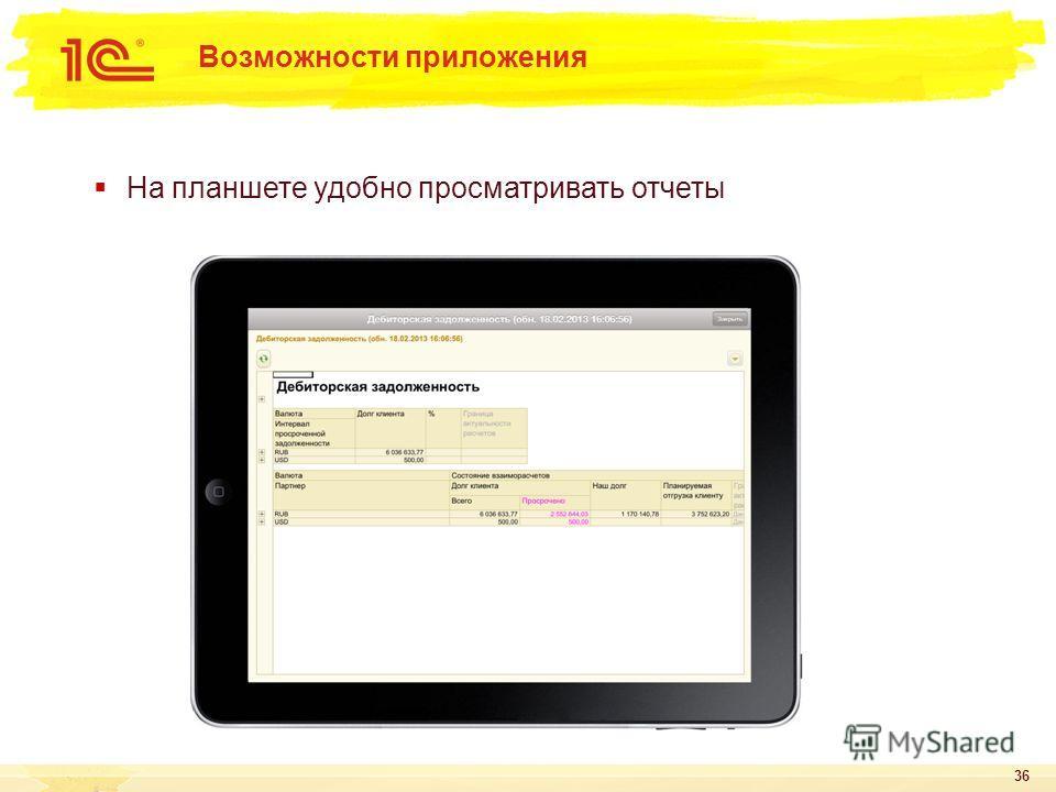 На планшете удобно просматривать отчеты 36 Возможности приложения