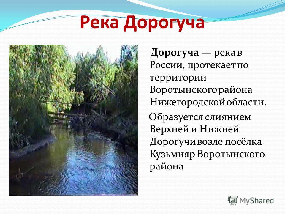 Река Дорогуча Дорогуча река в России, протекает по территории Воротынского района Нижегородской области. Образуется слиянием Верхней и Нижней Дорогучи возле посёлка Кузьмияр Воротынского района