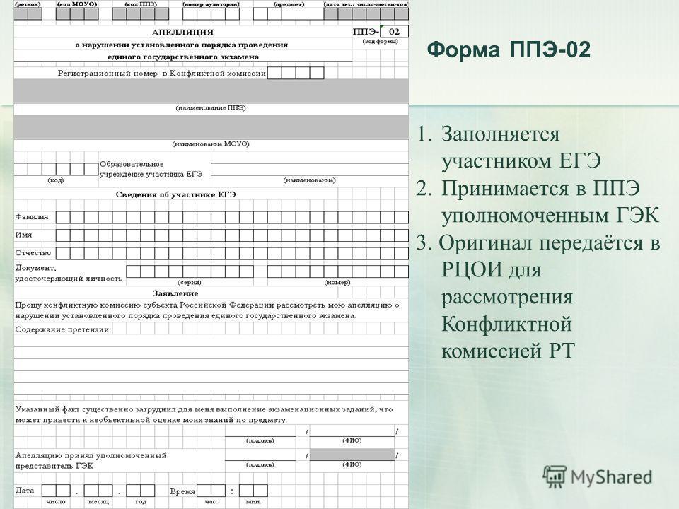 Форма ППЭ-02 1. Заполняется участником ЕГЭ 2. Принимается в ППЭ уполномоченным ГЭК 3. Оригинал передаётся в РЦОИ для рассмотрения Конфликтной комиссией РТ