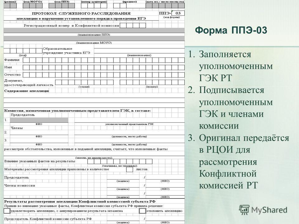 Форма ППЭ-03 1. Заполняется уполномоченным ГЭК РТ 2. Подписывается уполномоченным ГЭК и членами комиссии 3. Оригинал передаётся в РЦОИ для рассмотрения Конфликтной комиссией РТ