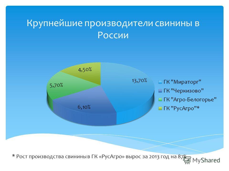 Крупнейшие производители свинины в России * Рост производства свинины в ГК «Рус Агро» вырос за 2013 год на 87%