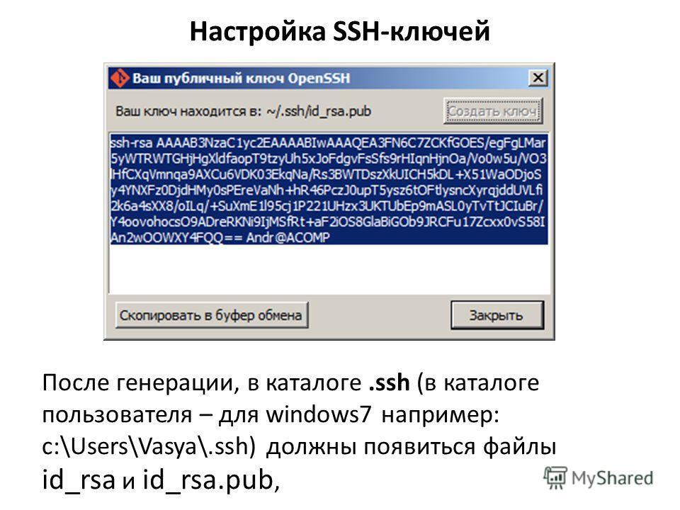После генерации, в каталоге.ssh (в каталоге пользователя – для windows7 например: c:\Users\Vasya\.ssh) должны появиться файлы id_rsa и id_rsa.pub,