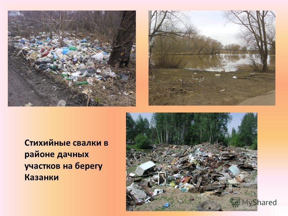 Стихийные свалки в районе дачных участков на берегу Казанки