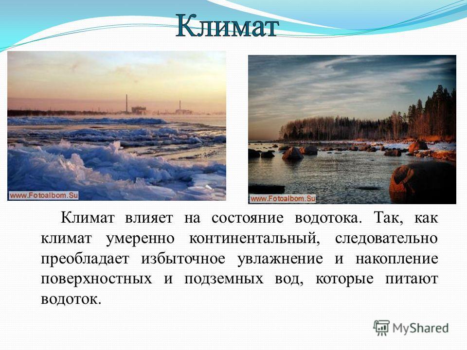 Климат влияет на состояние водотока. Так, как климат умеренно континентальный, следовательно преобладает избыточное увлажнение и накопление поверхностных и подземных вод, которые питают водоток.