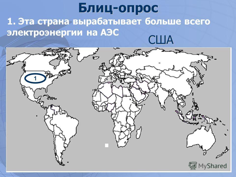 Блиц-опрос 1. Эта страна вырабатывает больше всего электроэнергии на АЭС 1 США