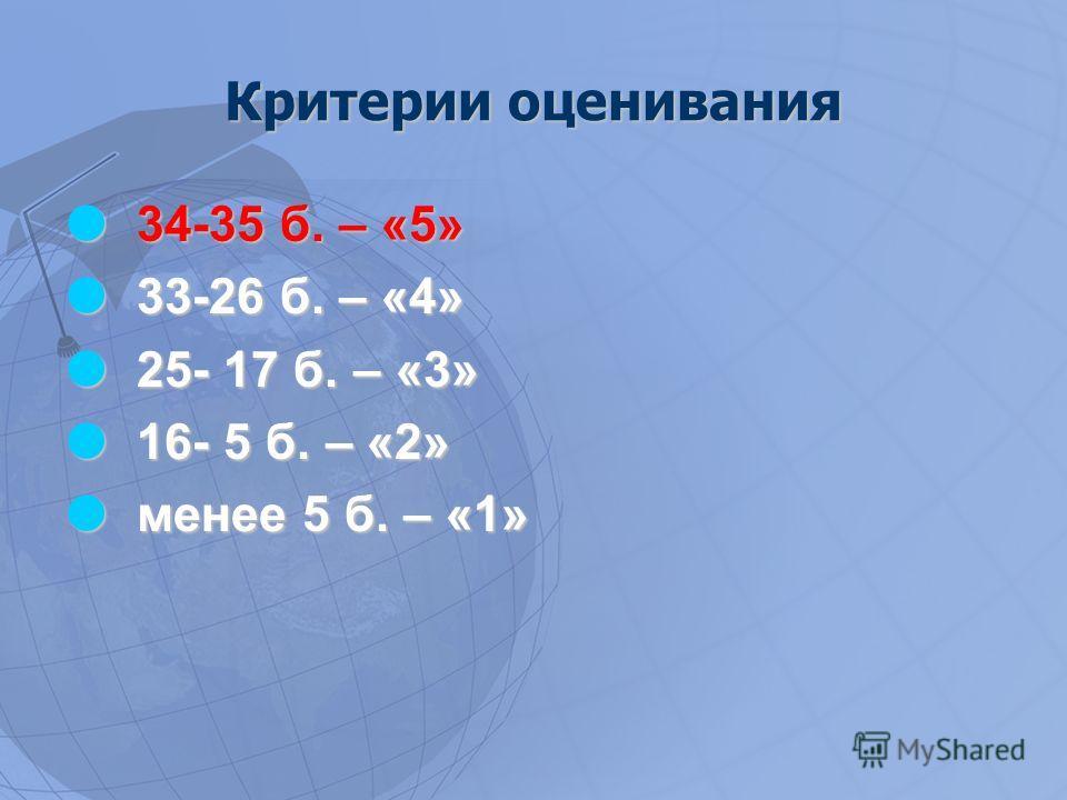 Критерии оценивания 34-35 б. – «5» 34-35 б. – «5» 33-26 б. – «4» 33-26 б. – «4» 25- 17 б. – «3» 25- 17 б. – «3» 16- 5 б. – «2» 16- 5 б. – «2» менее 5 б. – «1» менее 5 б. – «1»