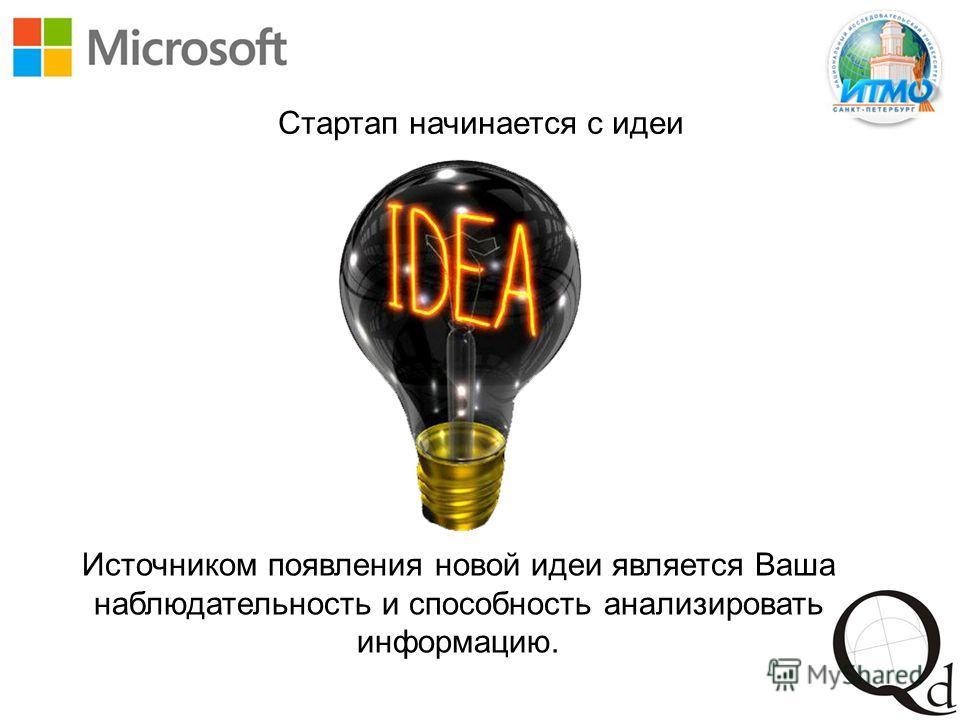 Стартап начинается с идеи Источником появления новой идеи является Ваша наблюдательность и способность анализировать информацию.