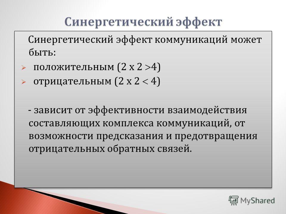 Синергетический эффект коммуникаций может быть: положительным (2 х 2 4) отрицательным (2 х 2 4) - зависит от эффективности взаимодействия составляющих комплекса коммуникаций, от возможности предсказания и предотвращения отрицательных обратных связей.