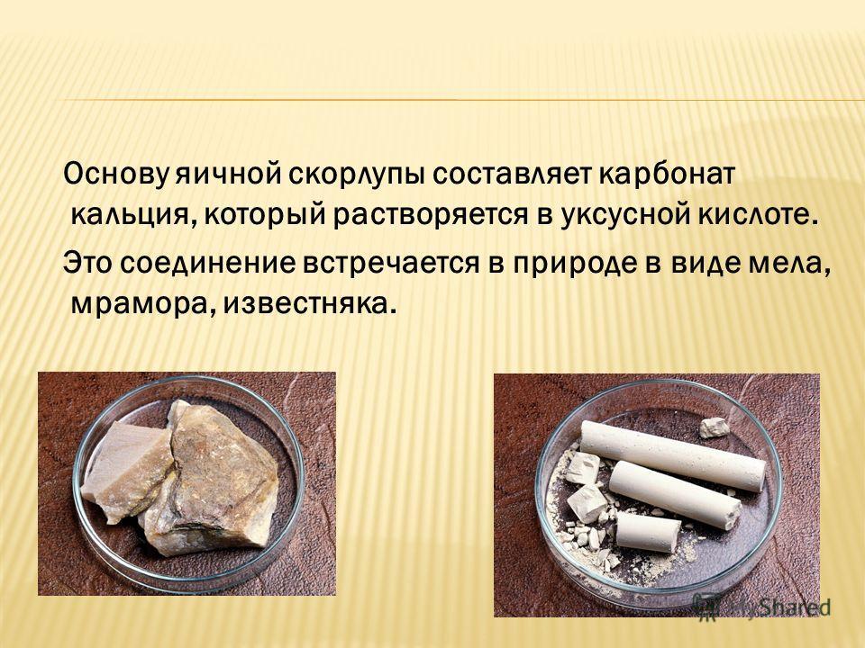Основу яичной скорлупы составляет карбонат кальция, который растворяется в уксусной кислоте. Это соединение встречается в природе в виде мела, мрамора, известняка.