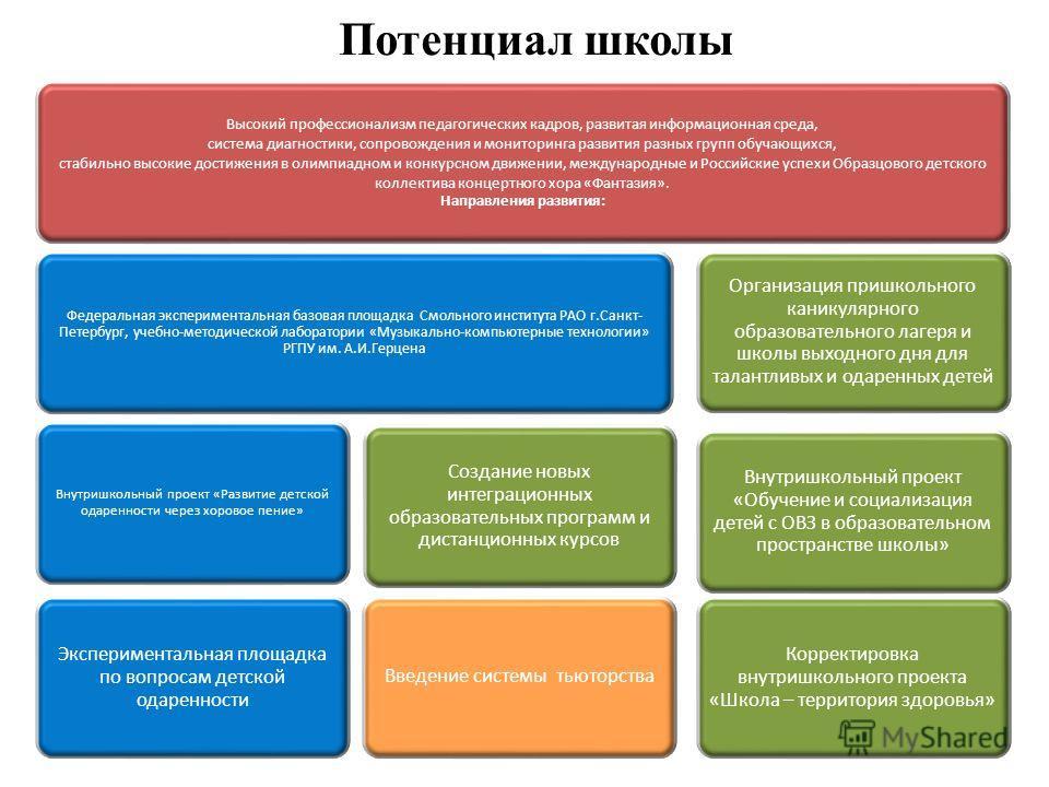 Высокий профессионализм педагогических кадров, развитая информационная среда, система диагностики, сопровождения и мониторинга развития разных групп обучающихся, стабильно высокие достижения в олимпиадном и конкурсном движении, международные и Россий