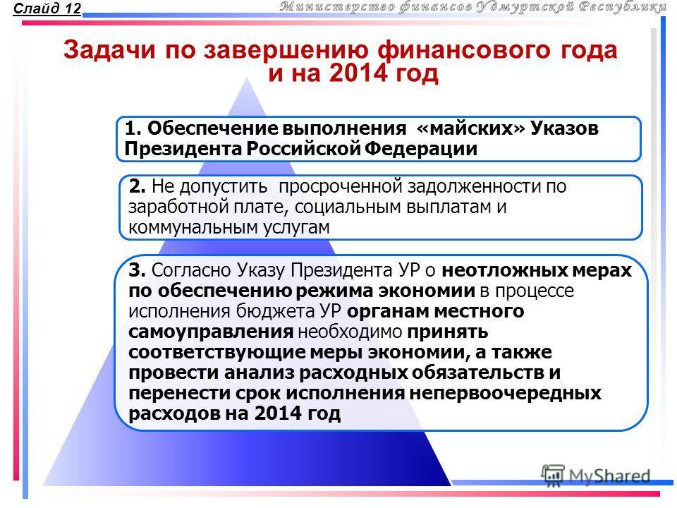 Задачи по завершению финансового года и на 2014 год Слайд 12 1. Обеспечение выполнения «майских» Указов Президента Российской Федерации 2. Не допустить просроченной задолженности по заработной плате, социальным выплатам и коммунальным услугам 3. Согл