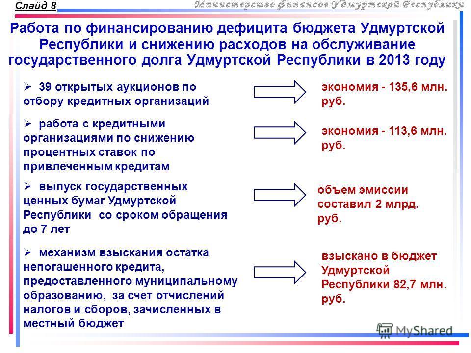 Слайд 8 Работа по финансированию дефицита бюджета Удмуртской Республики и снижению расходов на обслуживание государственного долга Удмуртской Республики в 2013 году работа с кредитными организациями по снижению процентных ставок по привлеченным креди