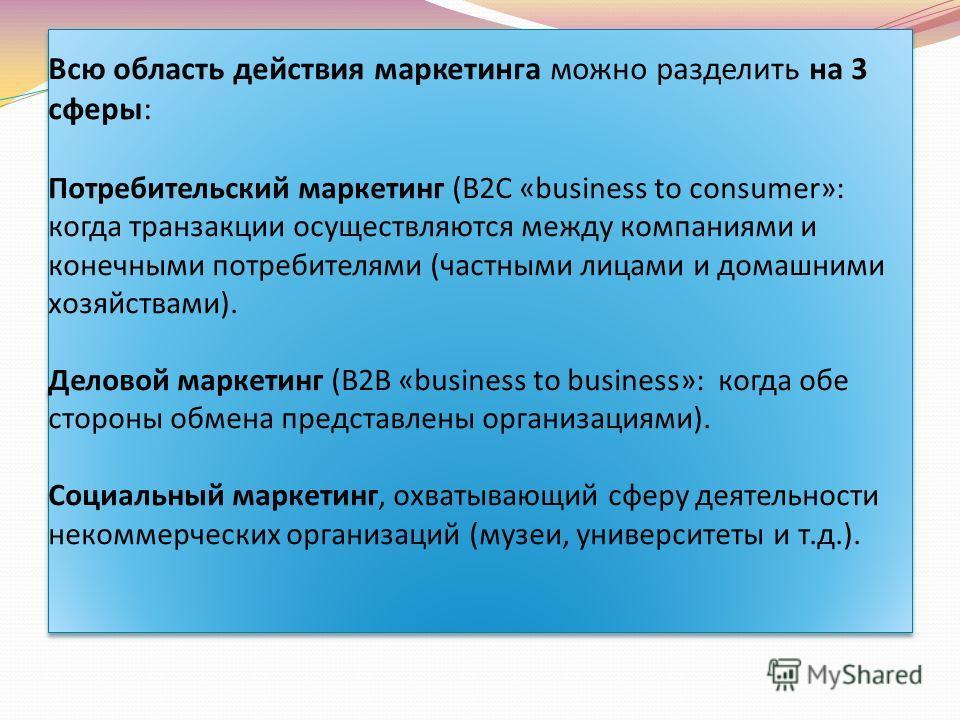 Всю область действия маркетинга можно разделить на 3 сферы: Потребительский маркетинг (B2C «business to consumer»: когда транзакции осуществляются между компаниями и конечными потребителями (частными лицами и домашними хозяйствами). Деловой маркетинг