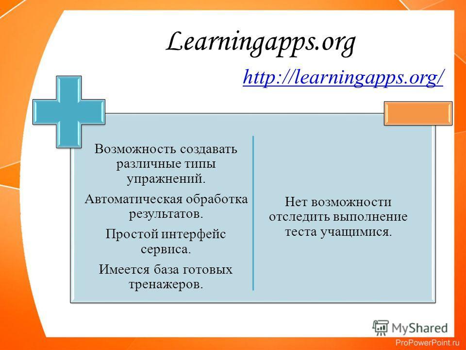 Learningapps.org Возможность создавать различные типы упражнений. Автоматическая обработка результатов. Простой интерфейс сервиса. Имеется база готовых тренажеров. Нет возможности отследить выполнение теста учащимися. http://learningapps.org/