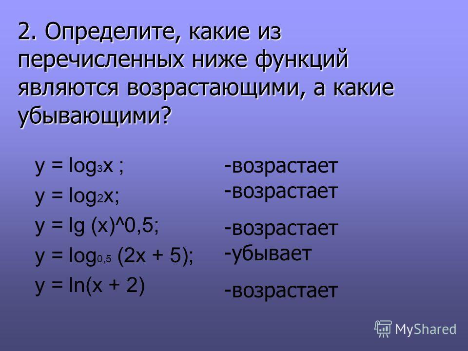 y = log 3 x ; y = log 2 x; y = lg (x)^0,5; y = log 0,5 (2x + 5); y = ln(x + 2) 2. Определите, какие из перечисленных ниже функций являются возрастающими, а какие убывающими? -возрастает -возрастает -убывает -возрастает