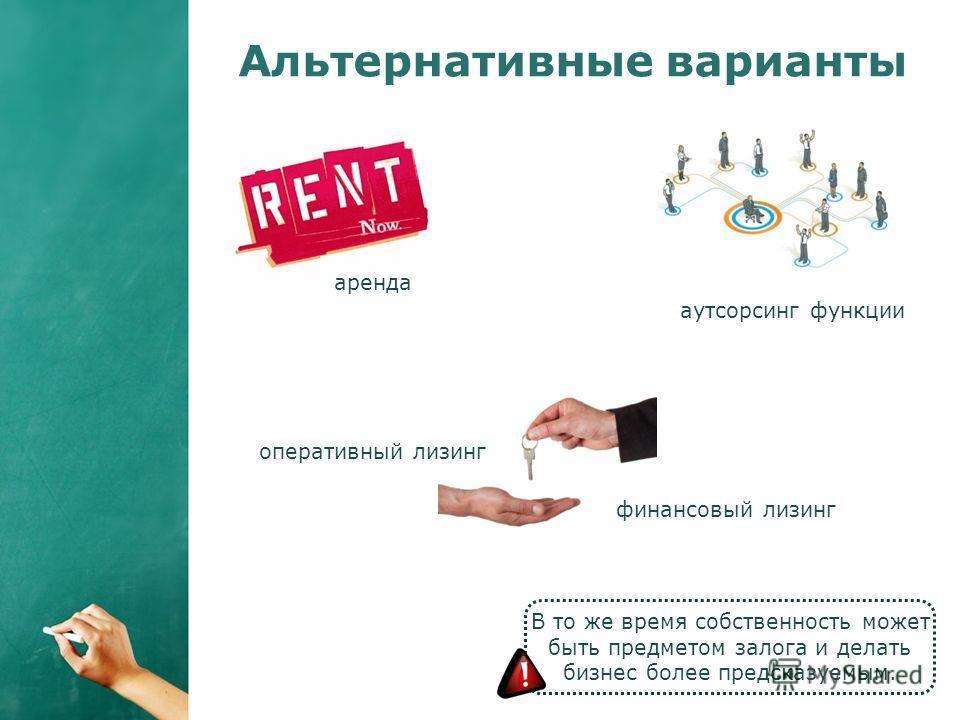 Альтернативные варианты В то же время собственность может быть предметом залога и делать бизнес более предсказуемым. аренда оперативный лизинг финансовый лизинг аутсорсинг функции