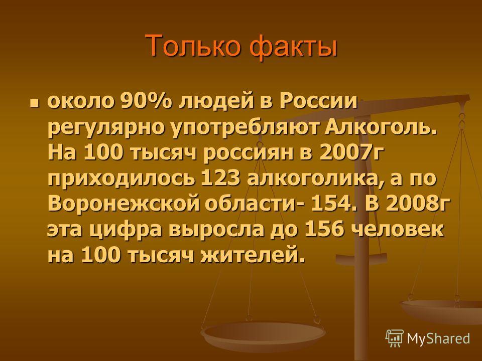 Только факты около 90% людей в России регулярно употребляют Алкоголь. На 100 тысяч россиян в 2007 г приходилось 123 алкоголика, а по Воронежской области- 154. В 2008 г эта цифра выросла до 156 человек на 100 тысяч жителей. около 90% людей в России ре