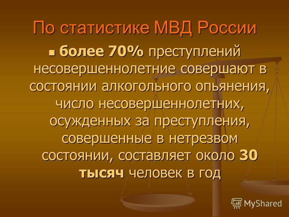 По статистике МВД России более 70% преступлений несовершеннолетние совершают в состоянии алкогольного опьянения, число несовершеннолетних, осужденных за преступления, совершенные в нетрезвом состоянии, составляет около 30 тысяч человек в год более 70