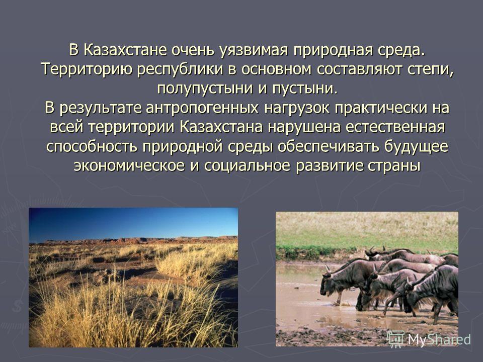 В Казахстане очень уязвимая природная среда. Территорию республики в основном составляют степи, полупустыни и пустыни. В результате антропогенных нагрузок практически на всей территории Казахстана нарушена естественная способность природной среды обе