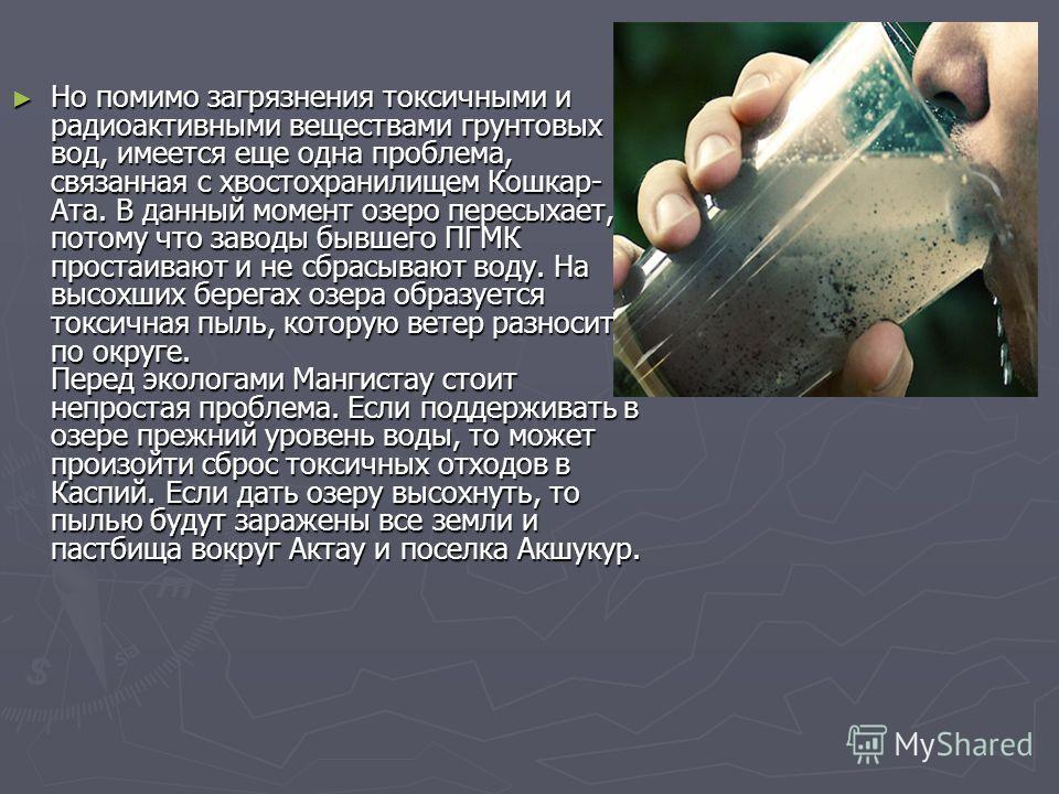 Но помимо загрязнения токсичными и радиоактивными веществами грунтовых вод, имеется еще одна проблема, связанная с хвостохранилищем Кошкар- Ата. В данный момент озеро пересыхает, потому что заводы бывшего ПГМК простаивают и не сбрасывают воду. На выс