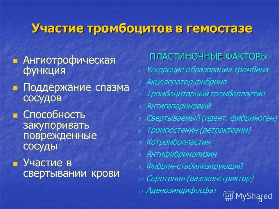 8 Участие тромбоцитов в гемостазе Ангиотрофическая функция Поддержание спазма сосудов Способность закупоривать поврежденные сосуды Участие в свертывании крови ПЛАСТИНОЧНЫЕ ФАКТОРЫ ПЛАСТИНОЧНЫЕ ФАКТОРЫ 1. Ускорение образования тромбина 2. Акцелератор