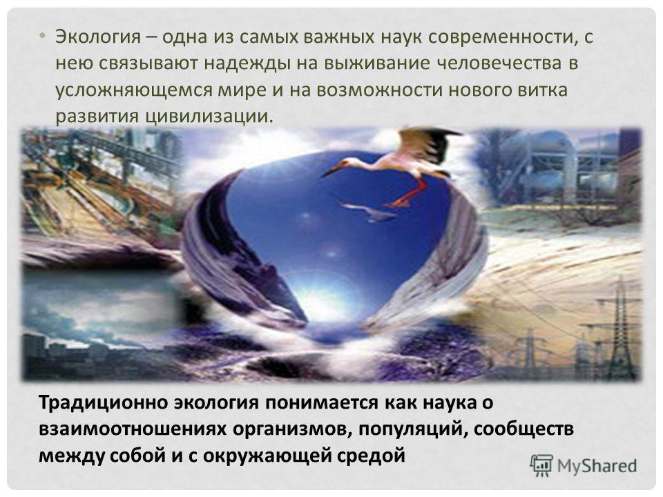 Экология – одна из самых важных наук современности, с нею связывают надежды на выживание человечества в усложняющемся мире и на возможности нового витка развития цивилизации. Традиционно экология понимается как наука о взаимоотношениях организмов, по