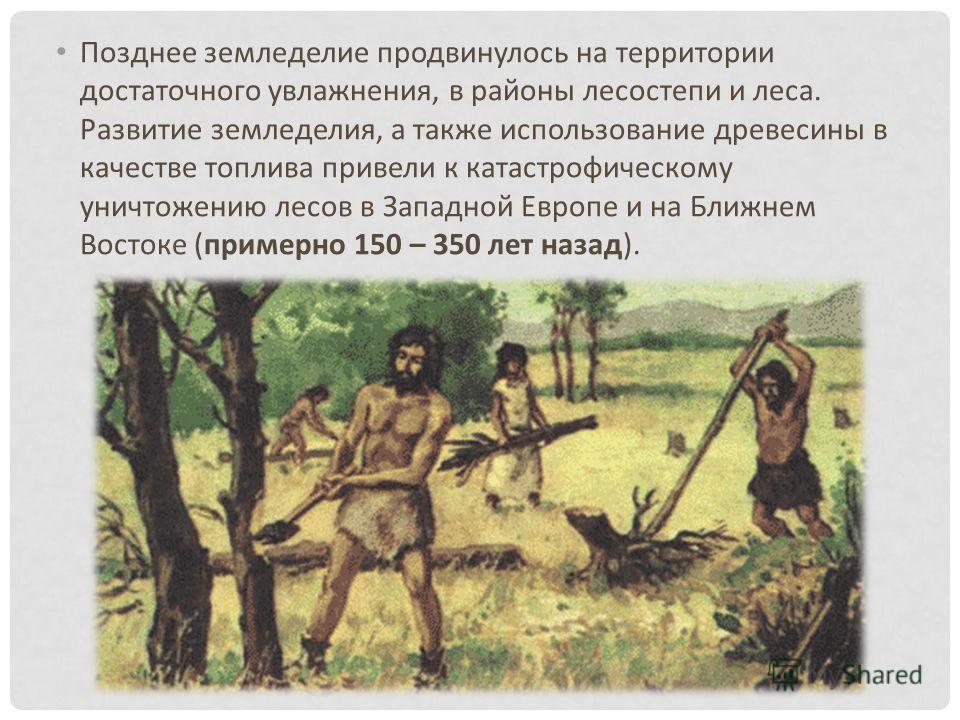 Позднее земледелие продвинулось на территории достаточного увлажнения, в районы лесостепи и леса. Развитие земледелия, а также использование древесины в качестве топлива привели к катастрофическому уничтожению лесов в Западной Европе и на Ближнем Вос