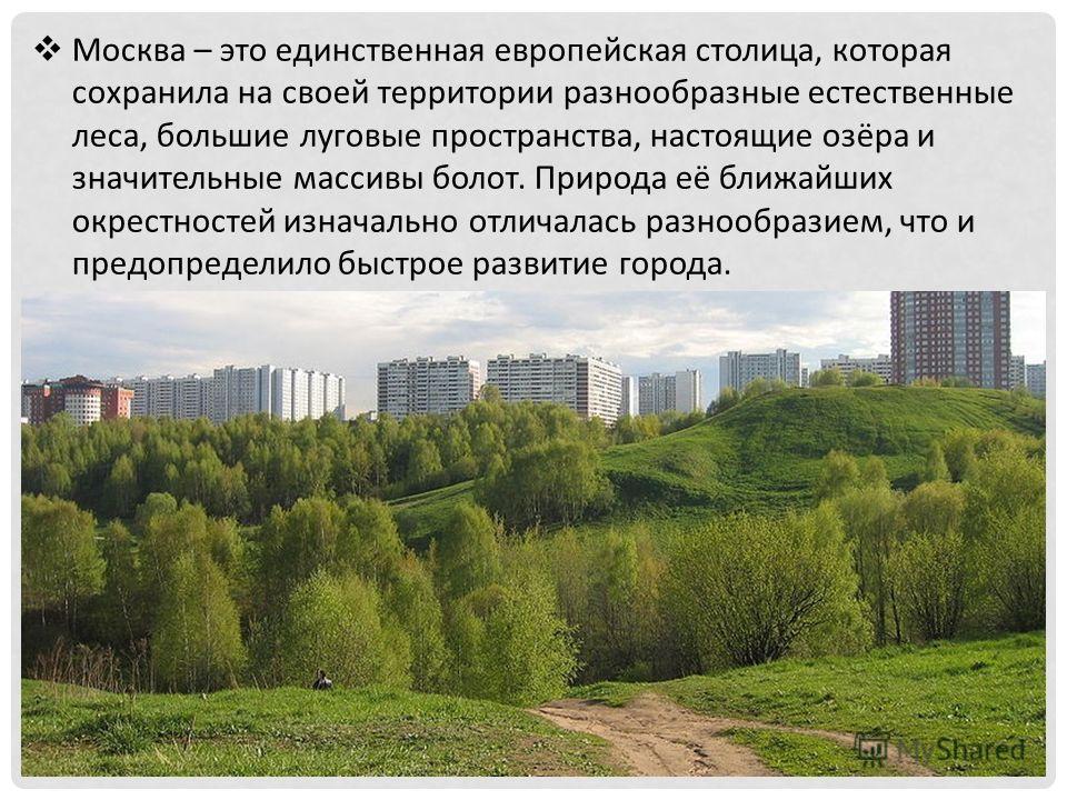 Москва – это единственная европейская столица, которая сохранила на своей территории разнообразные естественные леса, большие луговые пространства, настоящие озёра и значительные массивы болот. Природа её ближайших окрестностей изначально отличалась