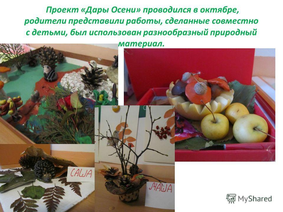 Проект «Дары Осени» проводился в октябре, родители представили работы, сделанные совместно с детьми, был использован разнообразный природный материал.