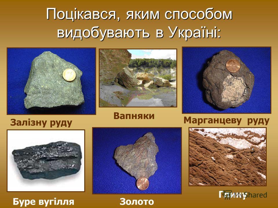 Поцікався, яким способом видобувають в Україні: Залізну руду Вапняки Марганцеву руду Буре вугілля Золото Глину