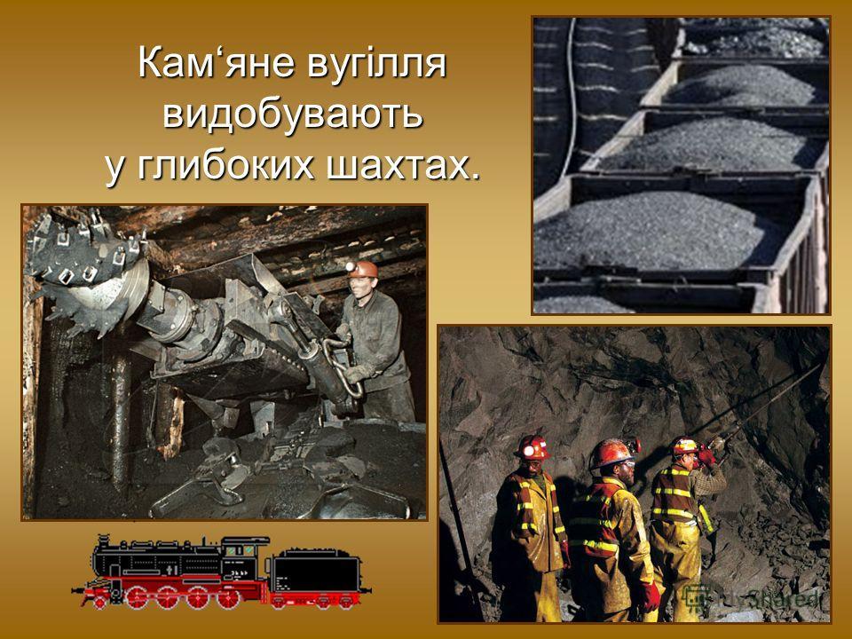 Камяне вугілля видобувають у глубоких шахтах.