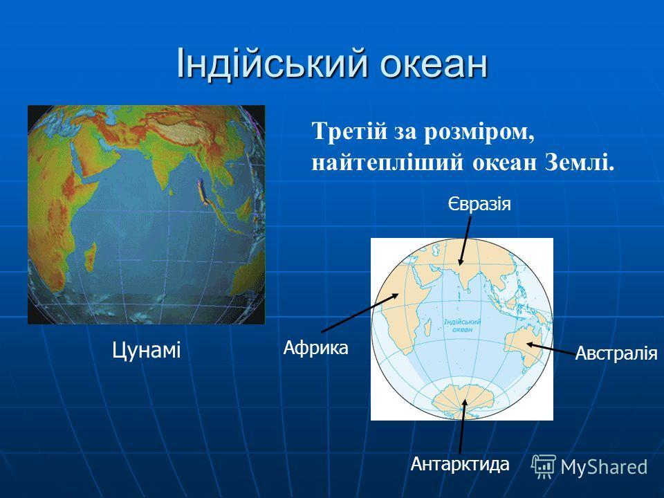 Індійський океан Третій за розміром, найтепліший океан Землі. Цунамі Африка Євразія Антарктида Австралія