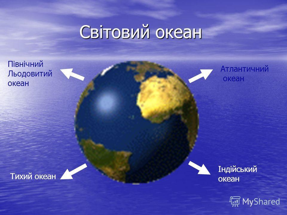 Світовий океан Північний Льодовитий океан Атлантичний океан Тихий океан Індійський океан