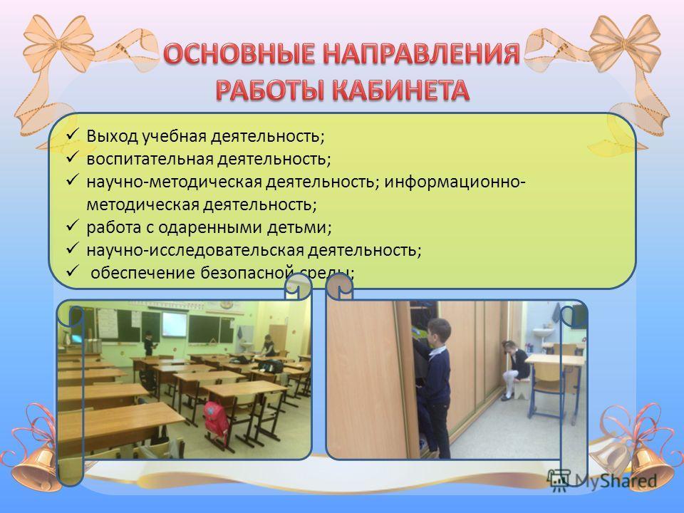 Выход учебная деятельность; воспитательная деятельность; научно-методическая деятельность; информационно- методическая деятельность; работа с одаренными детьми; научно-исследовательская деятельность; обеспечение безопасной среды;