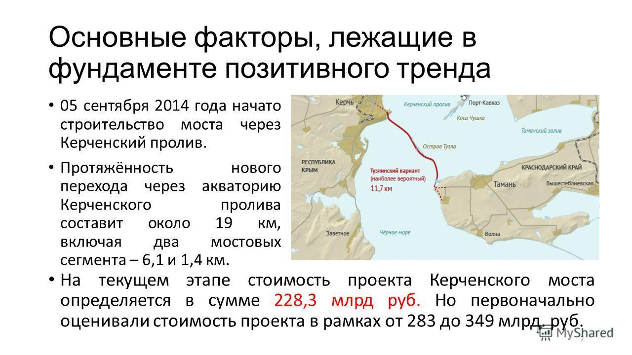 Основные факторы, лежащие в фундаменте позитивного тренда 05 сентября 2014 года начато строительство моста через Керченский пролив. Протяжённость нового перехода через акваторию Керченского пролива составит около 19 км, включая два мостовых сегмента