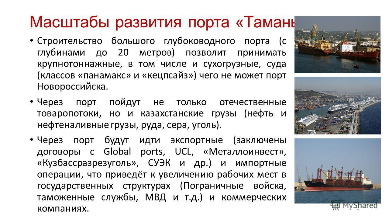 Масштабы развития порта «Тамань» Строительство большого глубоководного порта (с глубинами до 20 метров) позволит принимать крупнотоннажные, в том числе и сухогрузные, суда (классов «панамакс» и «кецпсайз») чего не может порт Новороссийска. Через порт