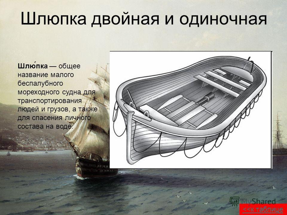 Шлюпока двойная и одиночная Шлю́пока общее название малого беспалубного мореходного судна для транспортирования людей и грузов, а также для спасения личного состава на воде.