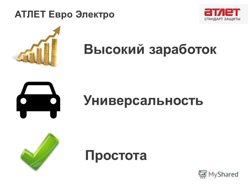 АТЛЕТ Евро Электро Высокий заработок Универсальность Простота