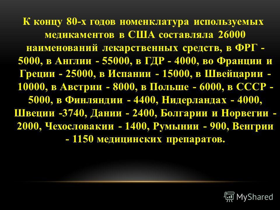 К концу 80-х годов номенклатура используемых медикаментов в США составляла 26000 наименований лекарственных средств, в ФРГ - 5000, в Англии - 55000, в ГДР - 4000, во Франции и Греции - 25000, в Испании - 15000, в Швейцарии - 10000, в Австрии - 8000,
