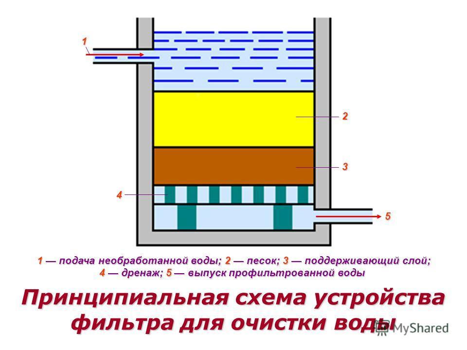 1 2 3 4 5 1 подача необработанной воды; 2 песок; 3 поддерживающий слой; 4 дренаж; 5 выпуск профильтрованной воды Принципиальная схема устройства фильтра для очистки воды