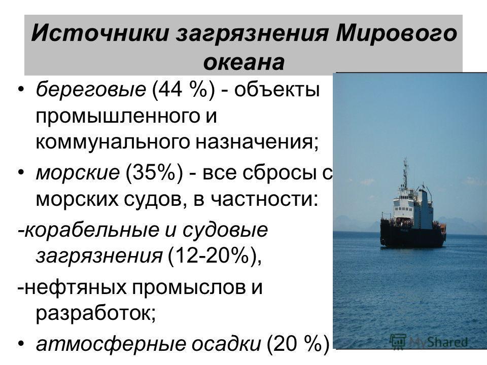 Источники загрязнения Мирового океана береговые (44 %) - объекты промышленного и коммунального назначения; морские (35%) - все сбросы с морских судов, в частности: -корабельные и судовые загрязнения (12-20%), -нефтяных промыслов и разработок; атмосфе