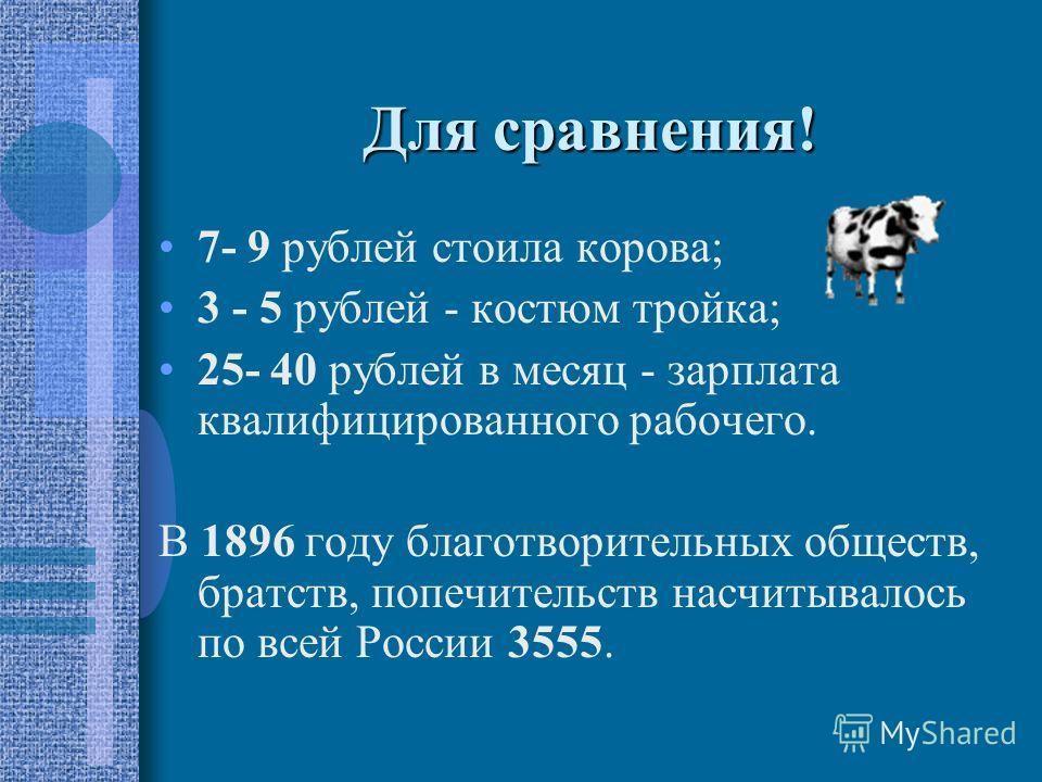 Для сравнения! 7- 9 рублей стоила корова; 3 - 5 рублей - костюм тройка; 25- 40 рублей в месяц - зарплата квалифицированного рабочего. В 1896 году благотворительных обществ, братств, попечительств насчитывалось по всей России 3555.
