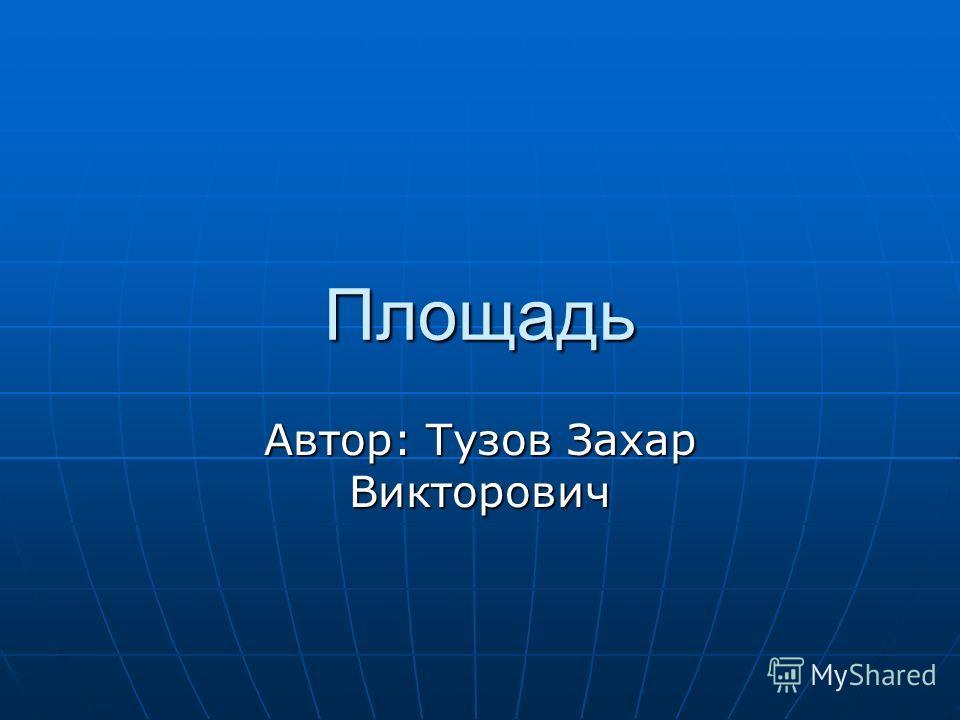 Площадь Автор: Тузов Захар Викторович