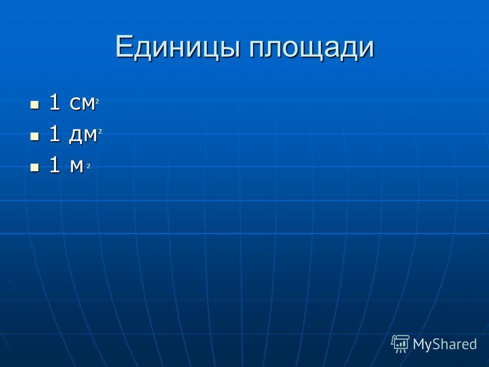 Единицы площади 1 см 1 см 1 дм 1 дм 1 м 1 м 2 2 2
