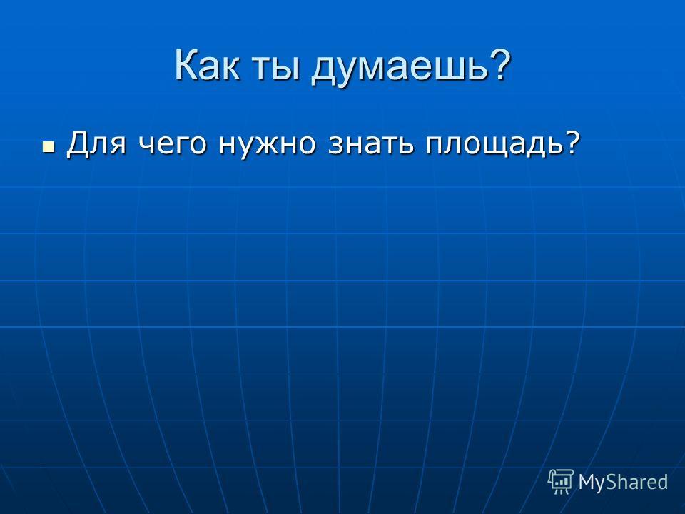 Как ты думаешь? Для чего нужно знать площадь? Для чего нужно знать площадь?
