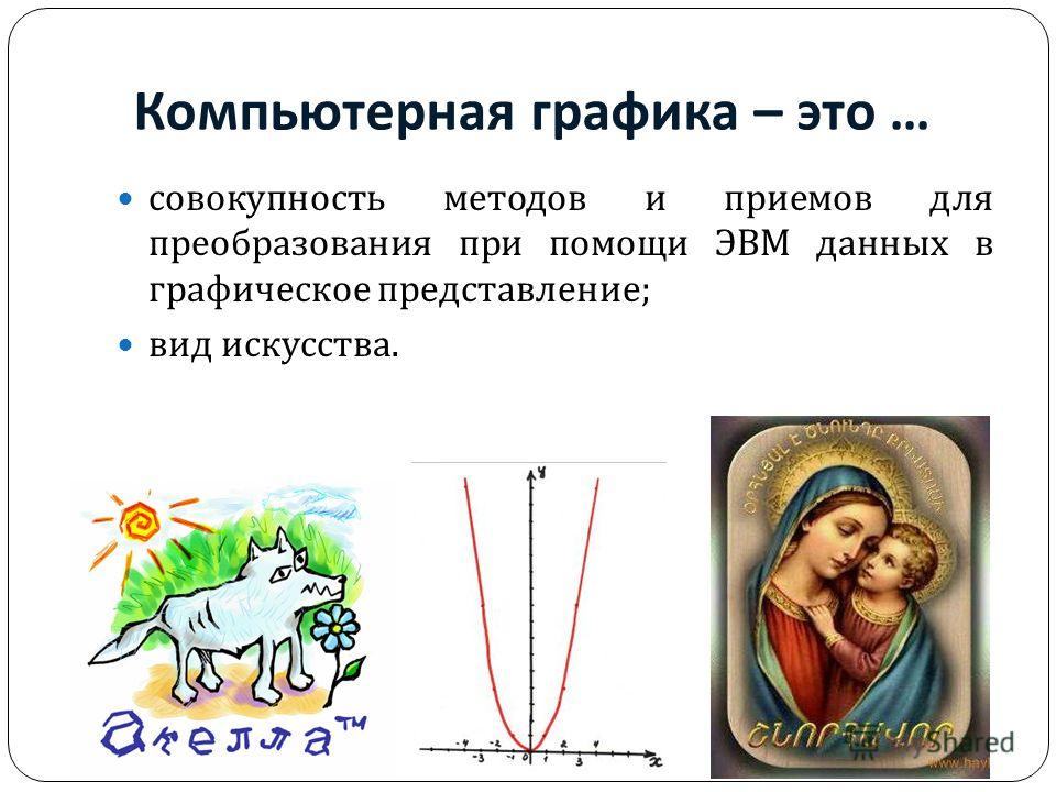Компьютерная графика – это … совокупность методов и приемов для преобразования при помощи ЭВМ данных в графическое представление ; вид искусства.