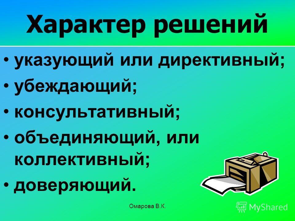 150 Характер решений указующий или директивный; убеждающий; консультативный; объединяющий, или коллективный; доверяющий. Омарова В.К.