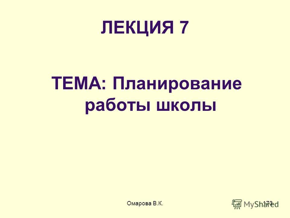 173 ЛЕКЦИЯ 7 ТЕМА: Планирование работы школы Омарова В.К.