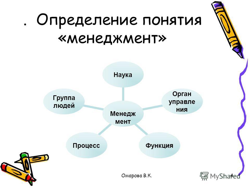 4. Определение понятия «менеджмент» Омарова В.К.