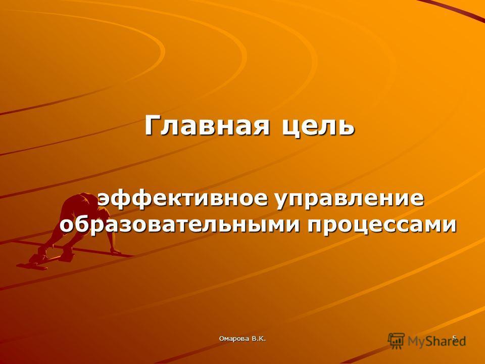5 Главная цель эффективное управление образовательными процессами эффективное управление образовательными процессами Омарова В.К.